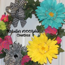 Gerbera Daisy Wreath, Giant Wonderland Gerbera Daisy Grapevine Turquise Yellow and Zebra Wreath
