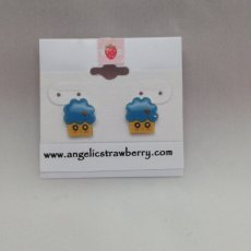 Blue Tuft Frosting with Little Strawberry Cupcake Earrings -OOAK shrink film cute muffin inspired ka