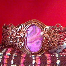 Pink Crazy Lace Agate Bangle