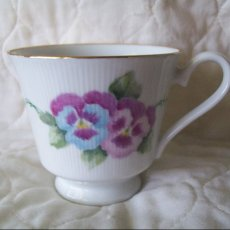 purple pansy cup and saucer