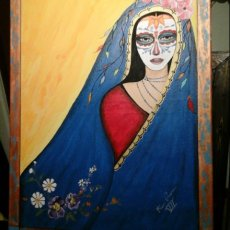 Day of the Dead, and Frida Kahlo acrylic hand painted on canvass with wood back frames ready to hang