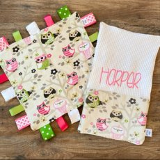 Personalized owl themed baby blanket and burp cloth set