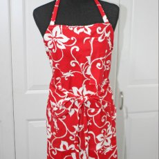 Red and White Hibiscus Apron