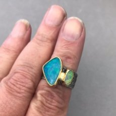 Opal doublet and black opal ring