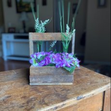 Rustic Lath Square Tote with purple floral and greenery