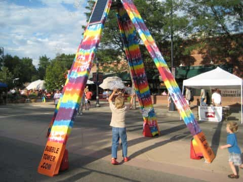 Tie Dye design of the solar powered Bubble Tower Sculpture