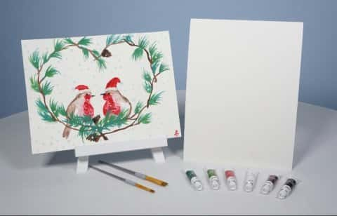 Holiday LOVE Birds Watercolor Painting KIT