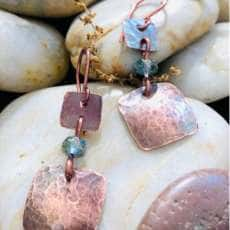 Copper Little Squares With Golden Blue Czeck Bead