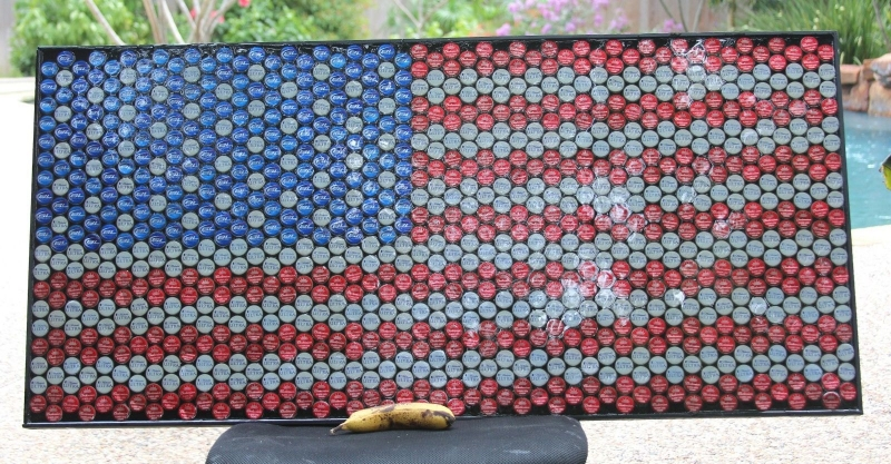American Flag Wall Mount Bottle Cap Corp Recycled