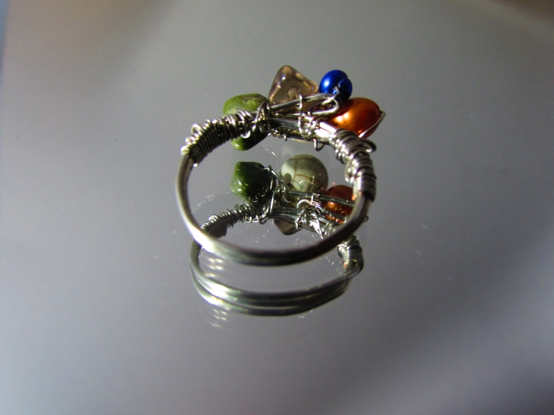Multi Stone Wire Wrapped Copper Ring K L Designs By