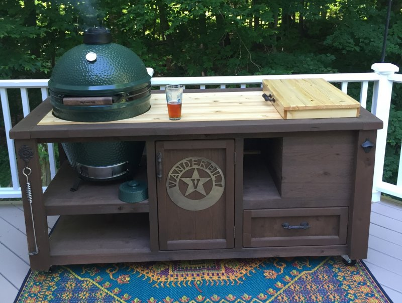 Grill Table For Big Green Egg, Kamado Joe, Primo   Rustic Outdoor Mini  Kitchen Cabinet