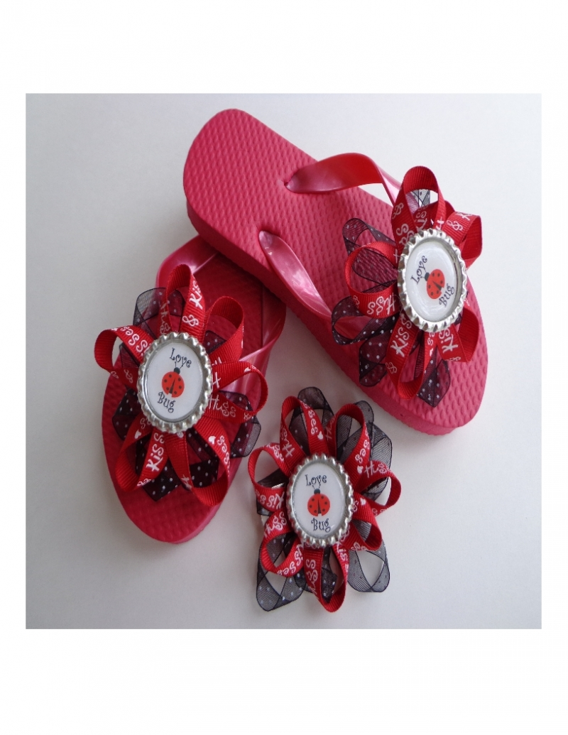 e56d29bd888cb5 Girls Embellished Flip Flops with Matching Hair Bow