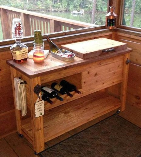 Rustic Cooler Wine Table Outdoor Bar Rustic