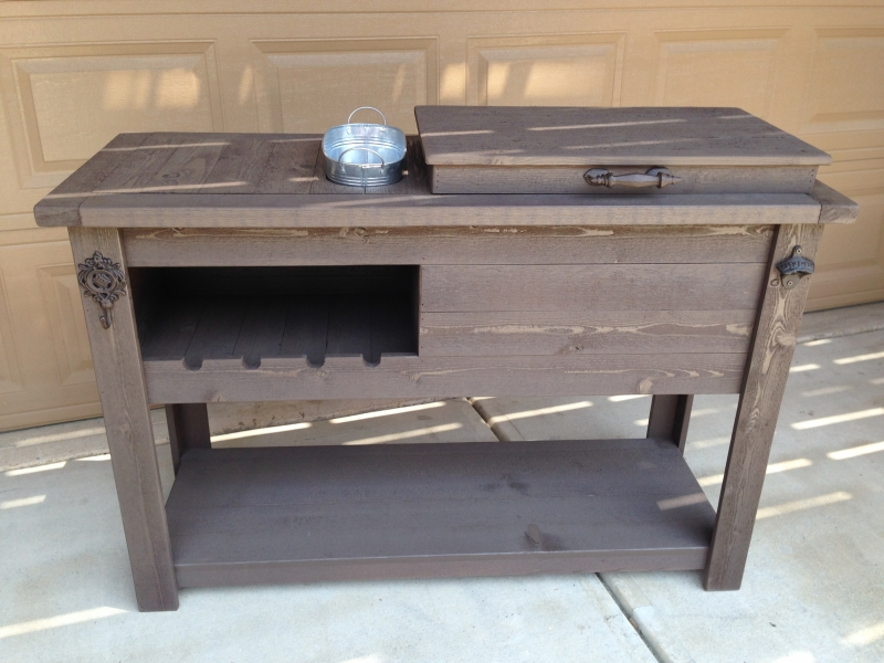 Rustic Cooler Wine Table Outdoor Bar Beverage Center From Reclaimed Wood