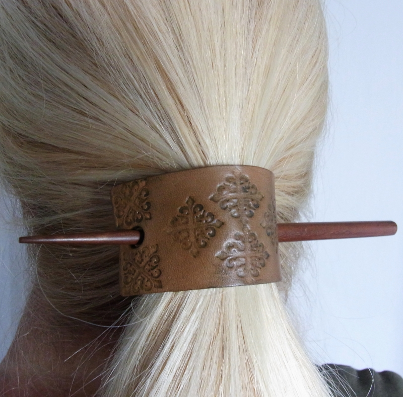 Hair Stick with Hand Stamped Leather Ponytail Holder 8ea43fc746e
