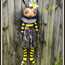 CALIXTA, a Primitive Folk Art Honey Bee Cloth Doll