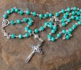 Handmade rosary (teal glass beads)