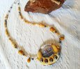 Caramel and Silver Window Lampwork Daisy Neckace