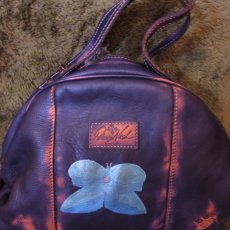 Hand Painted Abstract Butterfly Patricia Nash Purple Leather Bag