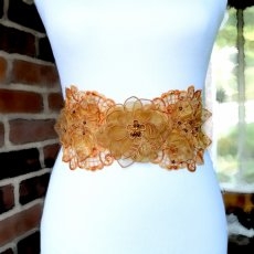Fall Bridal Sash, Autumn Bridal Satin Sash. Beaded Lace Sash.