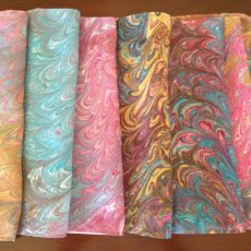 Serendipity Scarf - Hand painted, water-marbled 100% silk