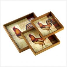 Rooster Tray Set