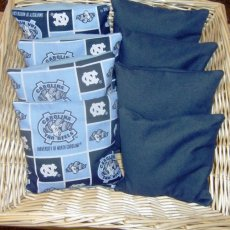 8 PC set of Corn hole Bags 4 UNC Patch Print  and 4 Navy Game Bags
