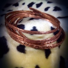 Copper Flat hammered bangles