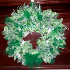 Handmade Green and White Tulle and Ribbon Wreath Stripes and Polka Dots St. Patricks Day Wreath by L