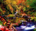 Canvas Wrap-20x16-Faeries in a Forest Stream