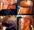 Hand stitched genuine leather shaggy boho Native American style wallet, clutch