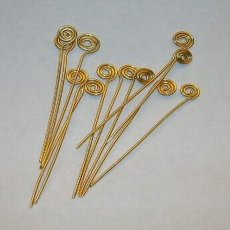 Handcrafted Swirl Gold Toned Head Pins - 20 gauge - 1 inch