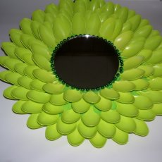 "14"" spoon art design mirror painted lime green"
