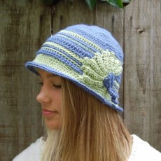 Green and blue cloche hat
