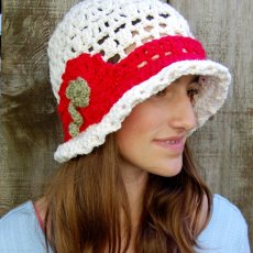 Summer, cotton hat with red band and flowe