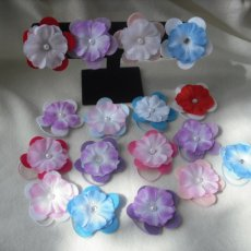 12 Assorted Random Felt/Polyester Flower Ponytail Holder/Bracelet with Bead Center.