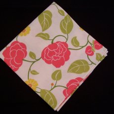 Set of 4 Handmade Coral & Off-White Floral Fabric Napkins