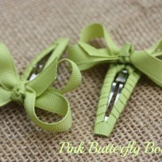 Snap clip hair bows. Set of 2. Pistachio color. Choose color