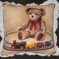 Teddy Bear and Trains/eyelet trim