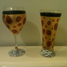 Hand Painted Animal Print Wine Glass and Beer Pilsner Glass Set