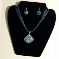 Blue Water Pendant and Earrings