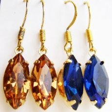 Vintage Swarovski Crystal Drop Earrings - Navette Style Assorted Colors