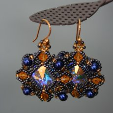 Blue and gold rivoli earrings