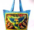 Hummingbird in Nature Batik | Natural Dye set on Handmade Quilted Tote with Pockets