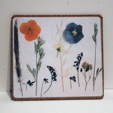 Giclee print of pressed flowers laminated mouse pad, coaster or place mat