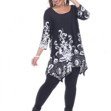 Black and Floral Print Tunic in Plus Sizes