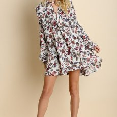 Floral Ivory Trapeze Dress