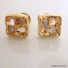 Handcarved Earrings in 14 Karat Gold with Diamond Accents