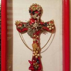 Red Wooden Cross embellished with vintage jewelry