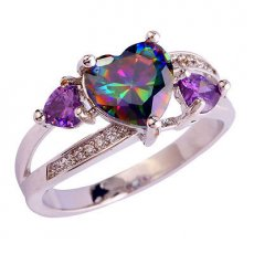 Rainbow Topaz Hearts with Amethyst